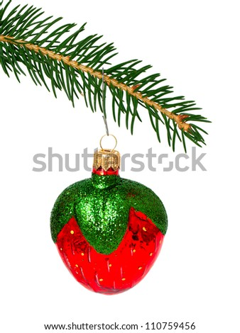 Christmas tree and toy isolated on white background - stock photo