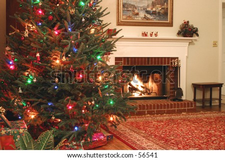 Christmas tree and warm fireplace - landscape 1