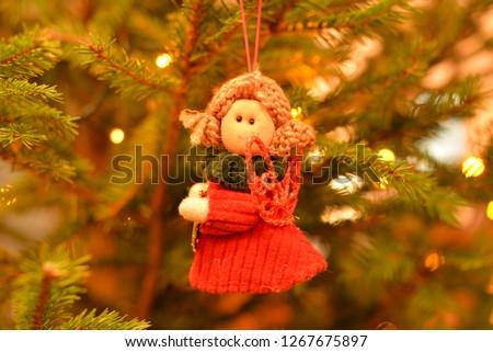 Christmas Tree Angel Decoration Closeup. Zdjęcia stock ©