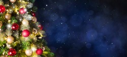 Christmas tree background and Christmas decorations. Blurred background