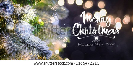 Christmas tree background and Christmas decorations. Blurred background #1166472211