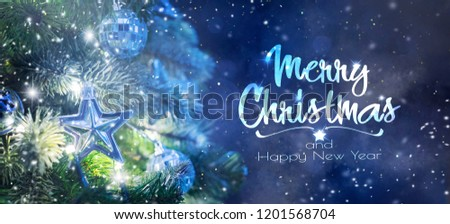 Christmas tree background and Christmas decorations. Blurred background #1201568704