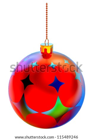 Christmas-tree ball with ornaments on white background