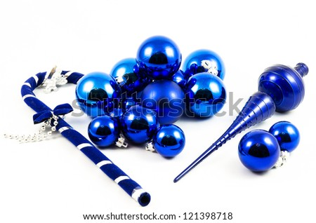 Christmas tree balls and decorations on white background