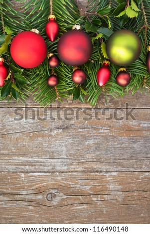 christmas tree balls and fir branches/christmas tree balls /christmas