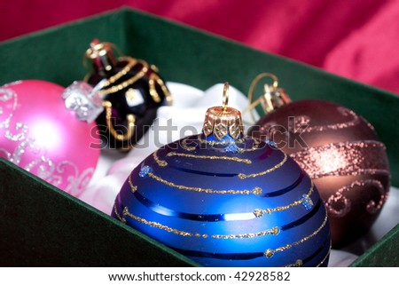 Christmas tree balls in box