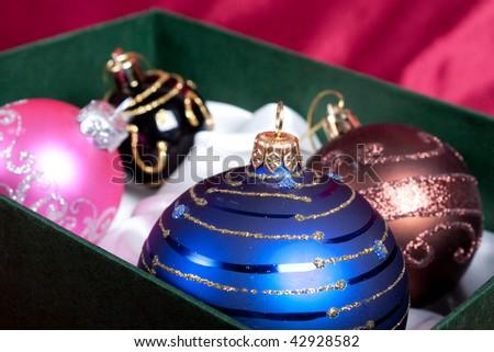 Christmas tree balls in box