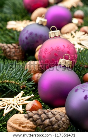 christmas tree balls nuts, stars, pine cones and fir branches/christmas decorations/christmas