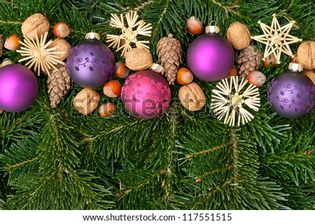 christmas tree balls nuts, stars, pine cones and fir branches/christmas decorations/christmas - stock photo