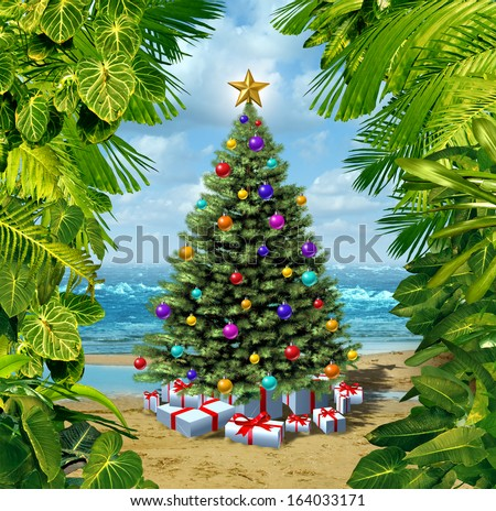 Christmas tree beach celebration on a tropical island with presents and gifts framed by plants as a concept for winter holiday and new year festivities vacation on hot sand by the sea.