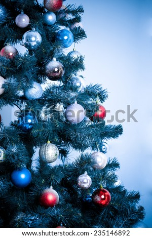 Christmas Tree. blue toned