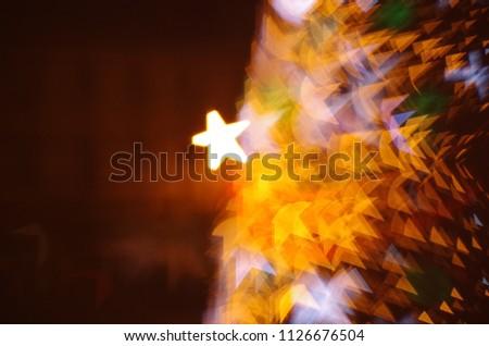 Christmas tree bokeh. Święta Bożego narodzenia. Gwiazdki. Rozmycie tła. Zdjęcia stock ©