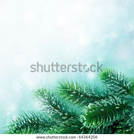 Christmas tree branch on abstract background