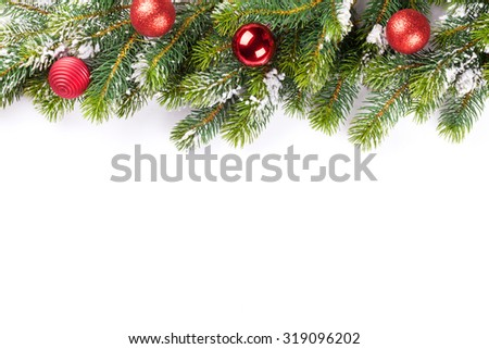Christmas tree branch with baubles decor. Isolated on white background #319096202