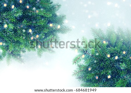 Christmas tree branches border. #684681949