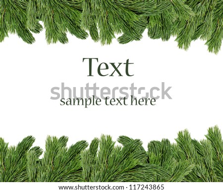 Christmas tree branches border over white background (with sample text)