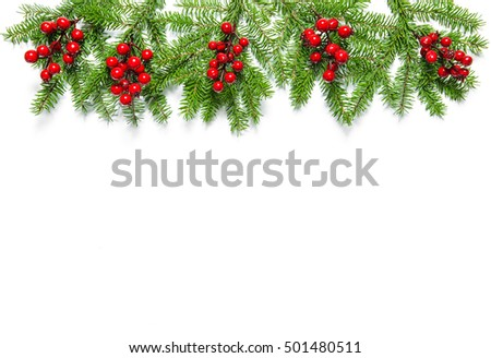 Christmas tree branches with red berries on white background.  Christmas Holidays decoration #501480511