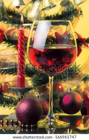 Christmas tree,candle,Christmas decoration,rose wine