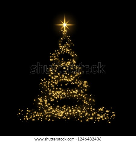 Christmas tree card background. Gold Christmas tree as symbol of Happy New Year, Merry Christmas holiday celebration. Golden light decoration. Bright shiny design illustration #1246482436