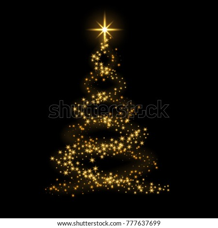 Christmas tree card background. Gold Christmas tree as symbol of Happy New Year, Merry Christmas holiday celebration. Golden light decoration. Bright shiny design illustration #777637699