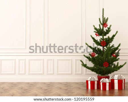 Christmas tree classical interiors against a white wall and dark parquet