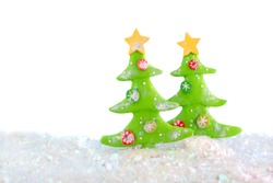christmas tree clay ornaments scene with glittery fake snow