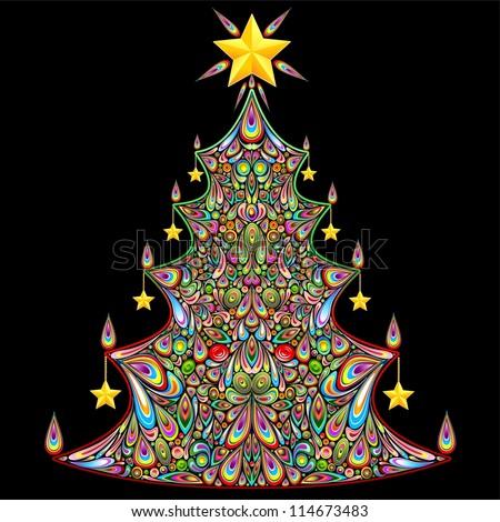 Christmas Tree Colorful Art Design