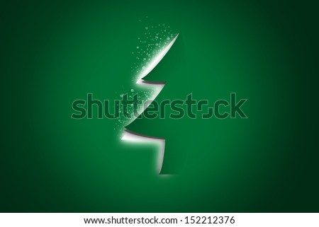 christmas tree come out from green paper background, holiday background