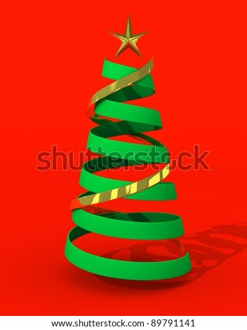 christmas tree concept red background