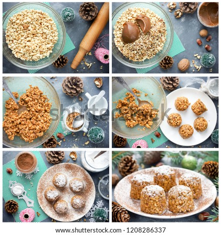 Christmas tree cone cakes preparation collage. New Year dessert, Christmas treat for kids, recipe step by step