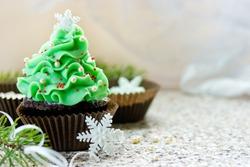 Christmas tree cupcake, homemade chocolate cupcake brownie shaped beautiful Christmas tree