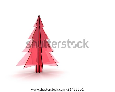 Christmas tree 3d rendering. Isolated on white background.