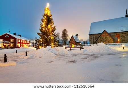Christmas tree decorated in Church Village of Gammelstad, Lulea; Sweden.