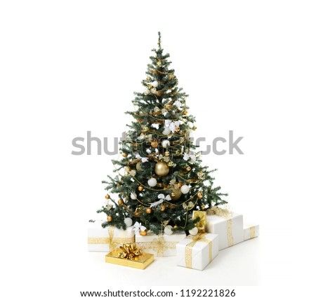 Christmas tree decorated with gold patchwork ornament artificial star hearts presents for new year 2019 isolated on white background #1192221826