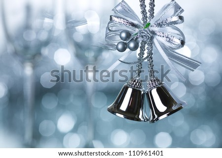Christmas tree decoration against blue lights background