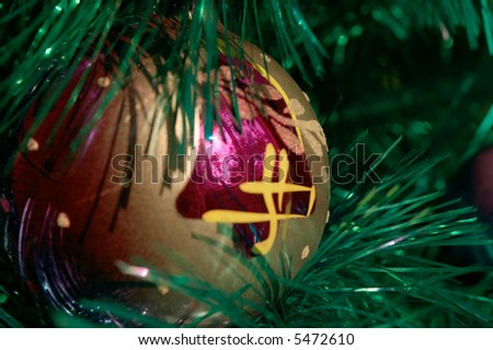 Christmas-tree decoration ball with window reflection
