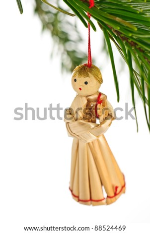 christmas tree decoration made out of straw - stock photo