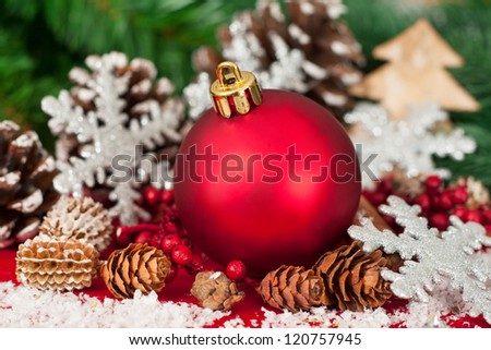 Christmas tree decoration on a fir in front of fir