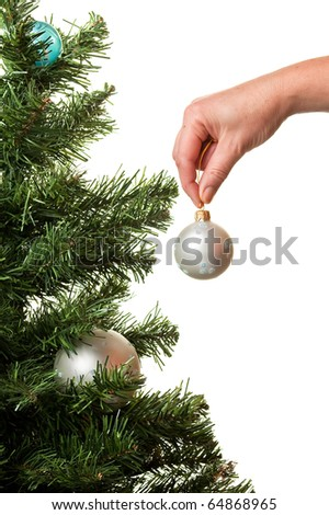 Christmas-tree decoration on a white background for a card