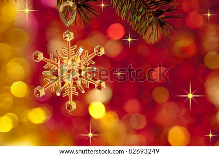 Christmas tree decoration on lights red background