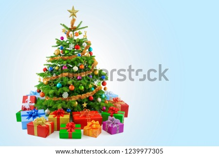 Stock Photo Christmas Tree Decoration Presents Gifts