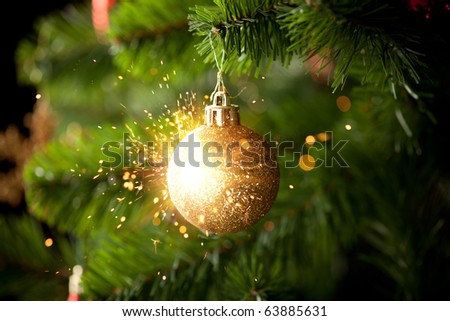 Christmas-tree decoration with shiny sparkles