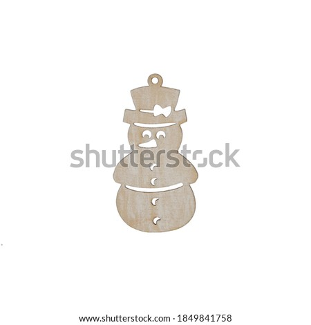 Christmas Tree Decoration Wooden Snowman Isolated on a White Background stock photo