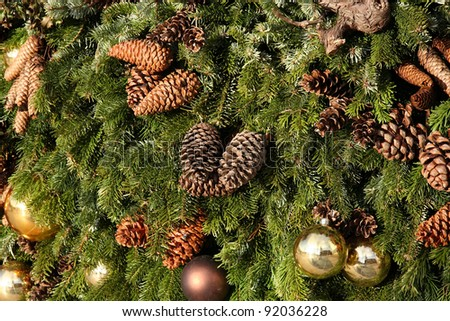Christmas tree decorations. Christmas decorations with pine cones.