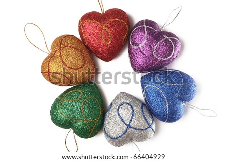 Christmas-tree decorations on a white background