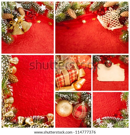 Christmas tree decorations on red paper background. Collage