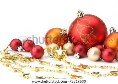 Christmas-tree decorations on white background