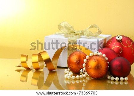 Christmas-tree decorations on white background - stock photo