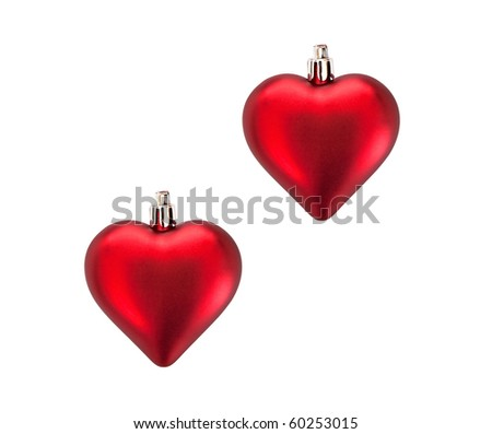 Christmas tree decorations. Toy in the shape of the heart.