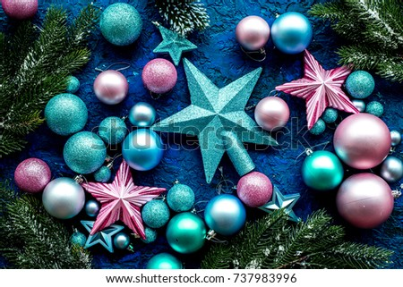 christmas tree decorations with balls and stars toys on blue background top view pattern - Christmas Tree Toy Decorations